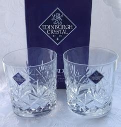 Edinburgh Crystal Glasses presentation boxed Forbes Jewellers Tain